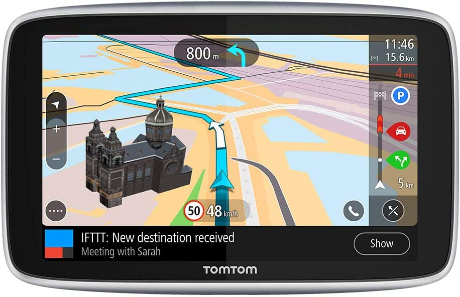 TomTom GPS para coche GO Premium, 6 pulgadas con tráfico y alerta de radares gracias a TomTom Traffic, mapas del mundo, actualizaciones a través de WiFi, llamadas con manos libres, soporte Click-Drive