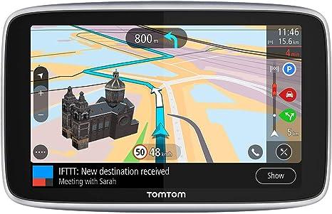 TomTom GPS para coche GO Premium, 6 pulgadas con tráfico y alerta de radares gracias a TomTom Traffic, mapas del mundo, actualizaciones a través de WiFi, llamadas con manos libres, soporte Click-Drive:
