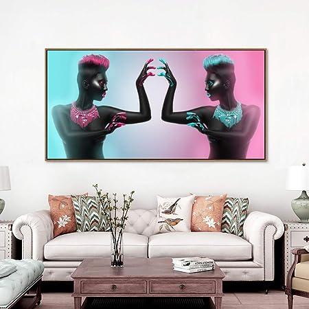 RTCKF Cartel de Lienzo Dos Mujeres Desnudas africanas Negras ...