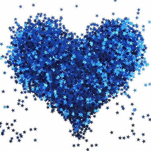 (Bilipala Blue Star Table Confetti Sparkle Star Sequins For Wedding Baby Shower Birthday Party Decorations Supplies, 6 MM, 2 Ounce)