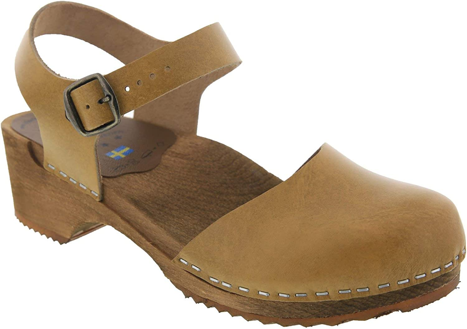 Bjork Alma Swedish Low Heel Wooden Clog Sandals in Vegetable Tanned Mustard Leather