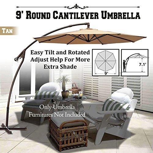 BenefitUSA 9' Round Cantilever Banana Umbrella Patio Offset Parasol Garden Outdoor Sunshade Hanging Market---360'C Rotational Function (Tan)