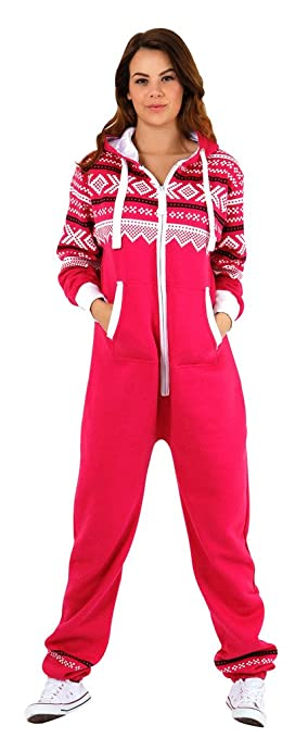 ca1bdccb8234 Womens Hooded Onesie Fashion Playsuit Ladies Jumpsuit Aztec Pink S