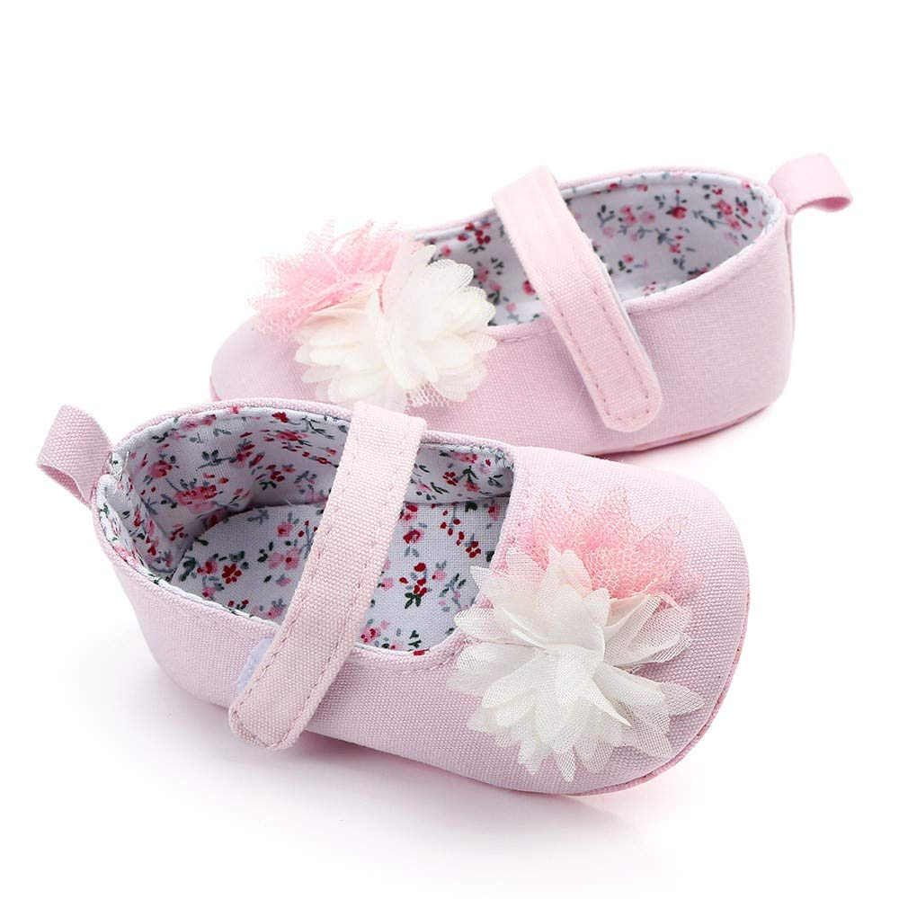 NUWFOR Newborn Baby Cute Girls Canvas Flower Single First Walker Soft Sole Shoes(Pink,12-15Months) by NUWFOR (Image #4)