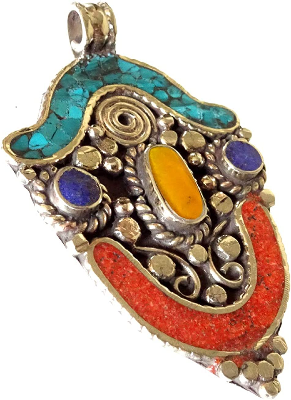 Bisutería de plata plateado colgante hecha a mano collar colgante filigrana étnica gitana auténtica turquesa Lapis Coral ámbar piedras preciosas amuleto curativo budista bohemio para mujeres
