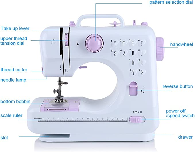 Kit de máquina de coser, máquina de costura eléctrico 12 puntos ...