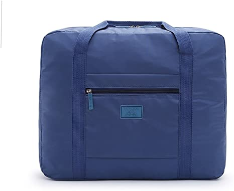 Shoulder Bag For Travel Foldable Luggage Tote Storage Packing Waterproof Nylon Purse Multiple Function Organizer Blue