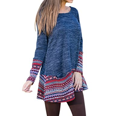 8776ca8fc34aa6 Etbotu Women Girls Long Sleeve Round Neck Loose Tops Sweater Long T-Shirt  Hem Cuff Ethnic Style Pattern (XL)  Amazon.co.uk  Clothing
