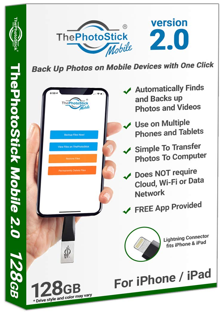 ThePhotoStick Mobile 2.0 for iPhone and iPad, 128GB Mobile Backup and Storage Device for Photos and Videos, MFi Certified