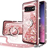Silverback Case Compatible with Samsung Galaxy S10 Plus, Girls Women Moving Liquid Holographic Sparkle Glitter Case with Kickstand, Bling Bumper W/Ring Stand Slim for Samsung Galaxy S10 Plus-RD