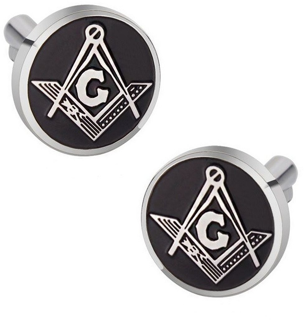 Cuff-Daddy Masonic Freemason Cufflinks Compass Black Enamel Round with Presentation Box