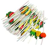 RoseSummer 50pcs/pack 3D Fruit Cocktail Drinking Straw Assorted Party BBQ Hawaiian Theme Decoration