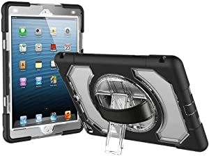 iPad 6th Generation Cases, Full Body Rugged Shockproof iPad 9.7 Case 2017/2018 with 360 Degree Rotating Stand, Hand Strap and Shoulder Strap, Durable iPad 5th/6th Generation Case for Kids, Clear