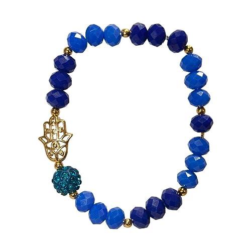 dfac4fa0e0a5 Pulsera con cristales checos en azul, con mano de Fátima en chapa de ...