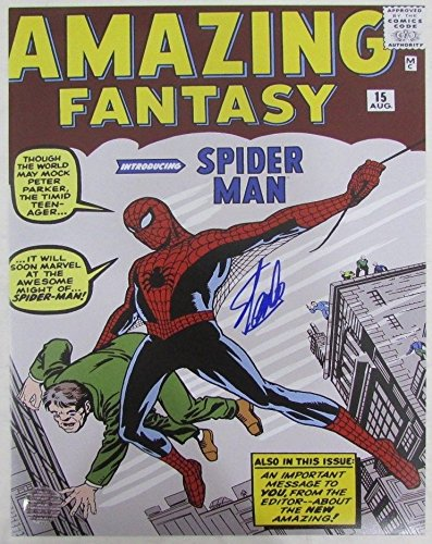 Stan Lee Spiderman Amazing Fantasy Signed 11x14 Inch Photo LEE HOLO SLC54185