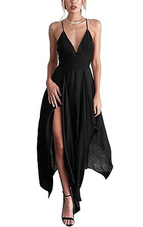 bc0a6c262a9a0 BienBien Été Femmes Robe Longue Sexy Col V Soirée Cocktail Casual Robe de  Plage Sundress Elegant