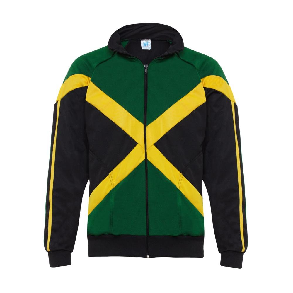 Authentic Jamaican Long Sleeved Children's Zip-Up Jacket - Unisex (Black, Green and Yellow) 13-14 Yrs by JL Sport