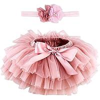 Marrywindix Newborn Baby Girls Tutu Flower Beads Headband Set Ruffles Tulle Skirt with Bow Baby Cotton Bloomers Diaper…