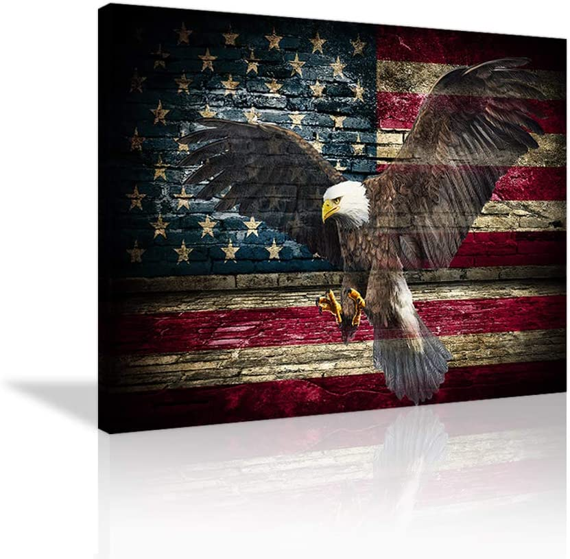 VIIVEI Retro American Flag Bald Eagle Military Wall Art Thin Blue Red Line Home Decor Pictures Patriotic Concept Painting for Living Room Bedroom Painting Framed Ready to Hang
