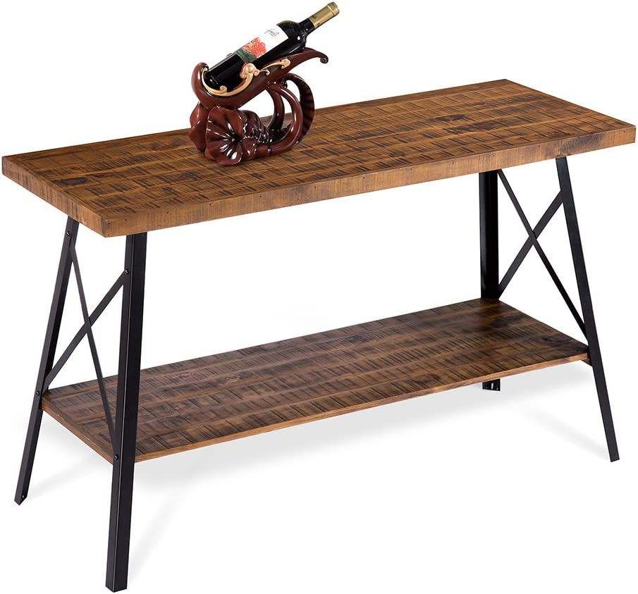 PrimaSleep Famille 48''W Solid Wood Top & Steel Legs Sofa TV Coffee Computer Dining Table, Rustic Brown