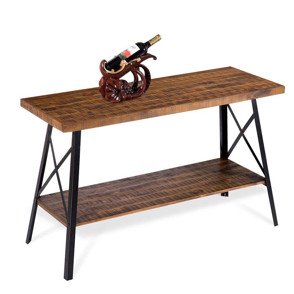 PrimaSleep Famille 48''W Solid Wood Top & Steel Legs Sofa Table/TV Stand/TV Console/TV Table/Coffee Table/Side Table/End Table/Dining Table/Vanity Table/Computer Table, (Rustic Brown)