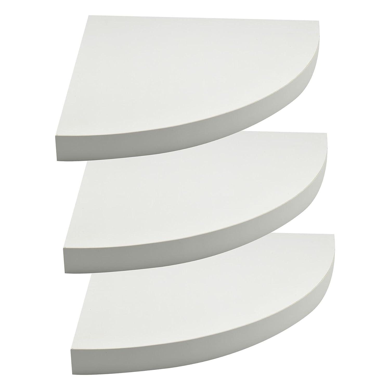 Harbour Housewares Tres Estantes de esquina Flotantes de madera 29.5 x 29.5 cm Blanco