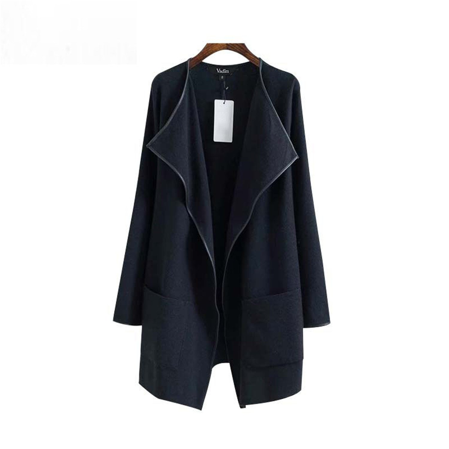 MRxcff Women Knitted Long Trench Coat Pockets Elastic Warm Edge PU Leather Elegant Ladies Autumn Casual Long Tops as picture2 M