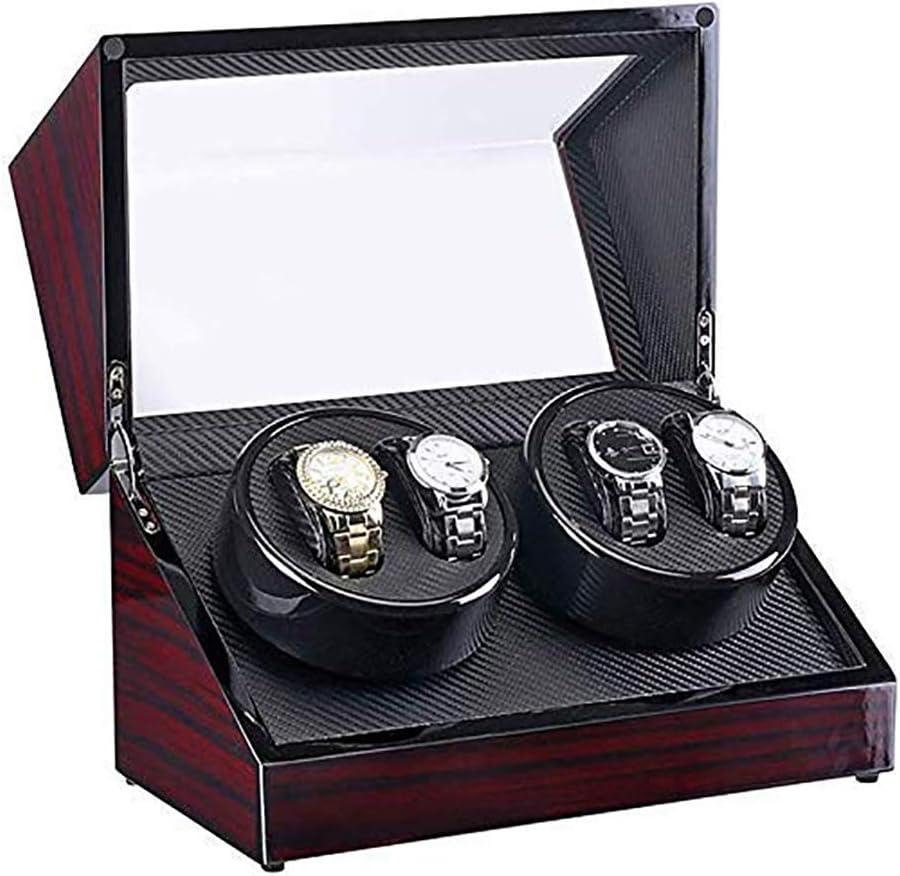 ASUNXL Watch Winder Caja Caja Automática De 4 Posiciones Winder, Madera Shell + Fibra De Carbono, Adecuado para La Mayoría Relojes Automáticos, Artículos para El Hogar