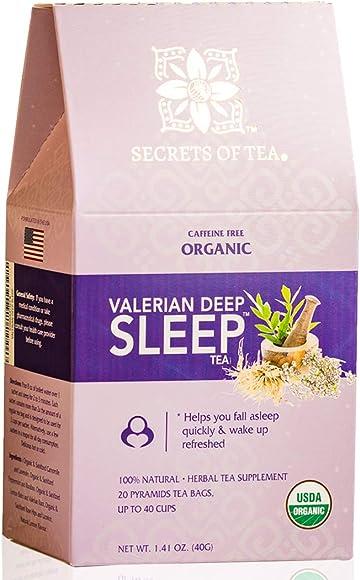 Valerian Tea for Sleep – Herbal Tea with Valerian Root, Chamomile and Lavender- Bedtime Tea for Sleep aid – This Sleep Tea Helps Fall Stay Asleep – 40 Servings by Secrets of Tea