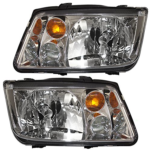 Pair Set Halogen Combination Headlights Replacement for 02-05 VW Jetta Gen 4 w/Fog Lamps 1J5941017BH 1J5941018BH