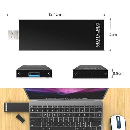 GLOTRENDS Caja de Carcasa USB 3.0 M.2 para SATA M.2 SSD (Clave B/B + M), Soporte Trim y UASP, Carcasa de Aluminio con diseño de ventilación, ...