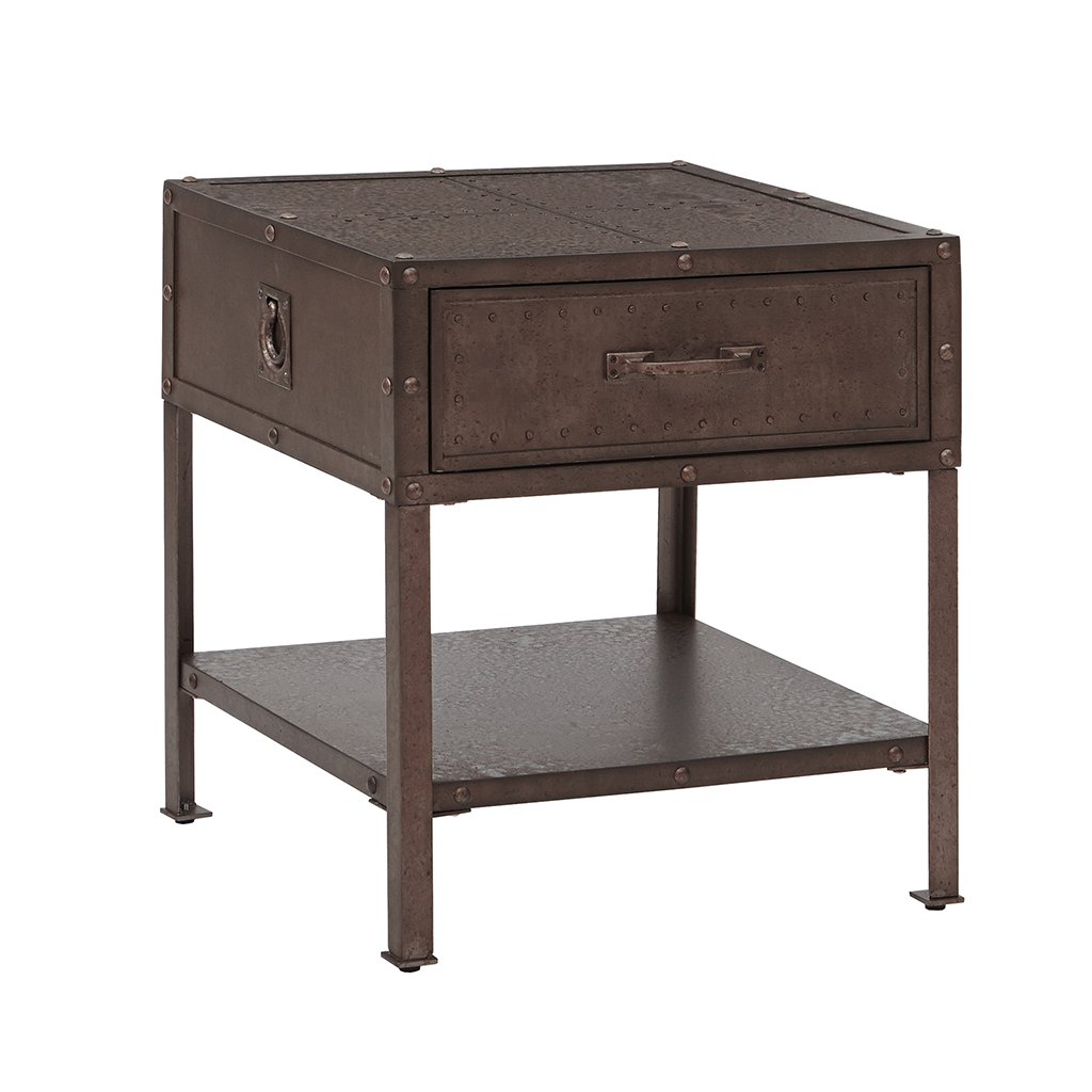 Industrial Rustic Trunk Style Metal and Wood End Side Table Nightstand with Drawer - Includes Modhaus Living Pen