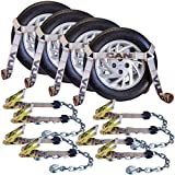 Vulcan Silver Series Flat Bed Side Rail Auto Tie Down With Chain Anchors - 3300 lbs. SWL (Pack of 4)