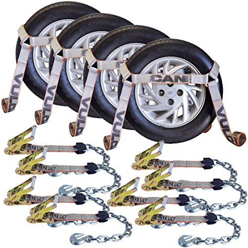 Vulcan Silver Side Rail Auto Tie Down w/Chain Anchors - 3300 lbs. SWL, 4 Pack ()