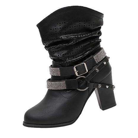ZHRUI Mujeres Otoño Invierno Rhinestone Ahuecar Botines de Mujer Tacón Medio Martin Botas Zapatos (Color