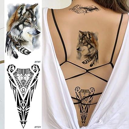 Yangll Acuarela Tribu Lobo Pluma Falso Tatuaje Temporal Pegatina ...