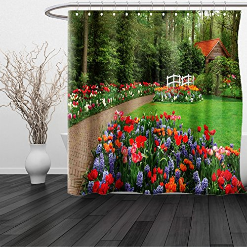 Aruba Recycled Plastic Materials (HAIXIA Shower Curtain Country Home A Spring Garden Forest Hut Small Bridge Plants Flowerbeds and Walkway 3 Queen Full Green Purple)