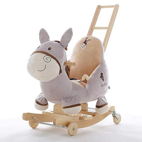 Mecedoras Donkey Rocking Horse Música para niños Baby Baby Toys Pequeño Caballo de Madera sacudió su