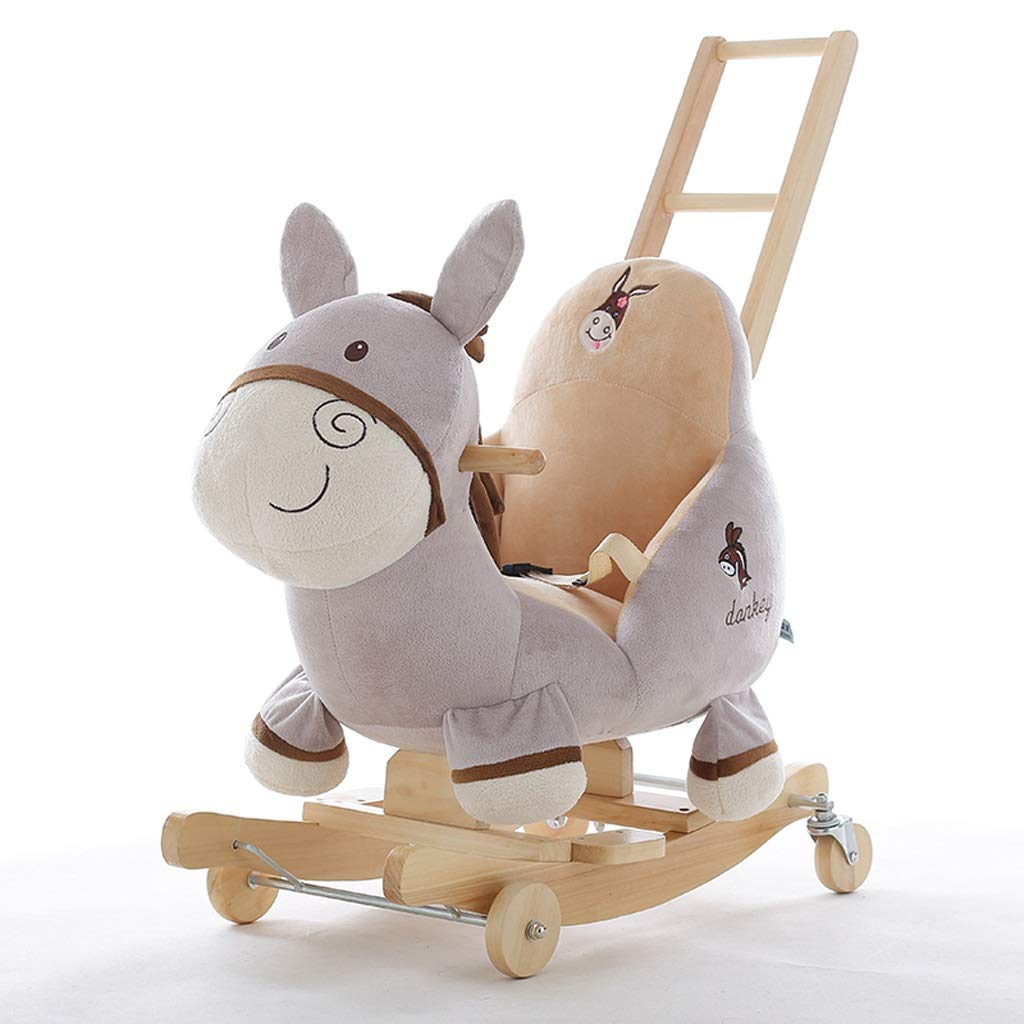 YULAN Donkey Rocking Horse Children's Music Baby Baby Toys Small Wooden Horse Shook His Car Birthday Gift