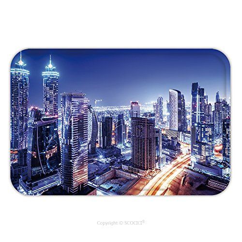Frozen Costumes Dubai (Flannel Microfiber Non-slip Rubber Backing Soft Absorbent Doormat Mat Rug Carpet Dubai Downtown Night Scene Uae Beautiful Modern Buildings Bright Glowing Lights Luxurious 240176458 for Indoor/Outdoor/)
