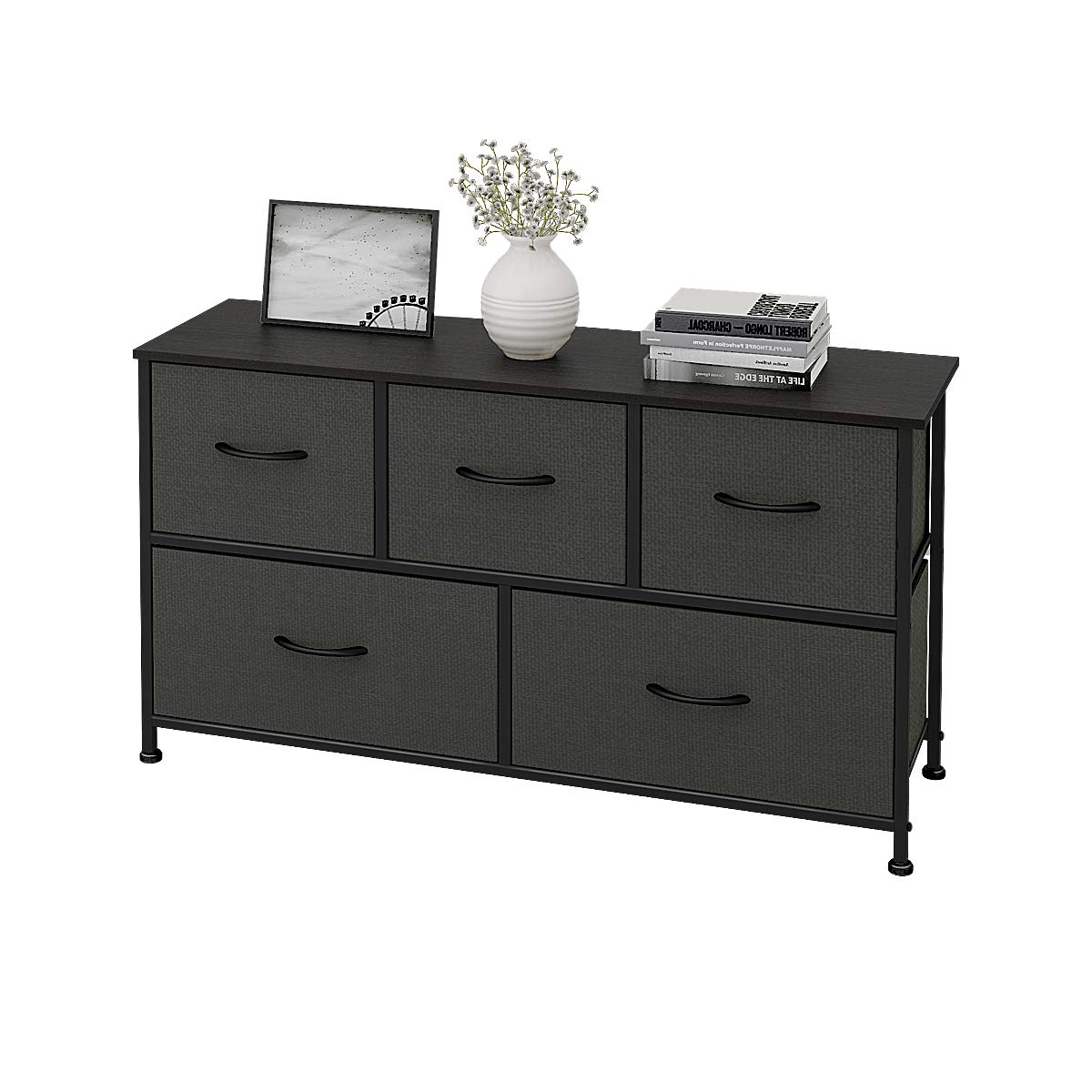 WLIVE Dresser with 5 Drawers, Fabric Storage Tower, Organizer Unit for Bedroom, Hallway, Entryway, Closets, Sturdy Steel Frame, Wood Top, Easy Pull Handle by WLIVE