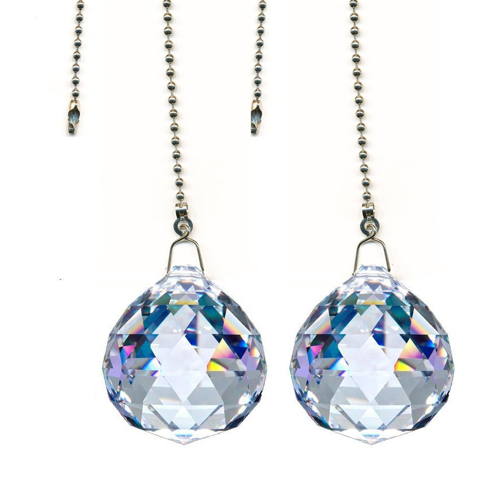 Magnificent crystal 40mm Clear Crystal Ball Prism 2 Pieces Dazzling Crystal Ceiling FAN Pull Chain