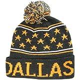 Dallas Adult Size Small Stars Winter Knit Pom Beanie Hats (Black/Orange)
