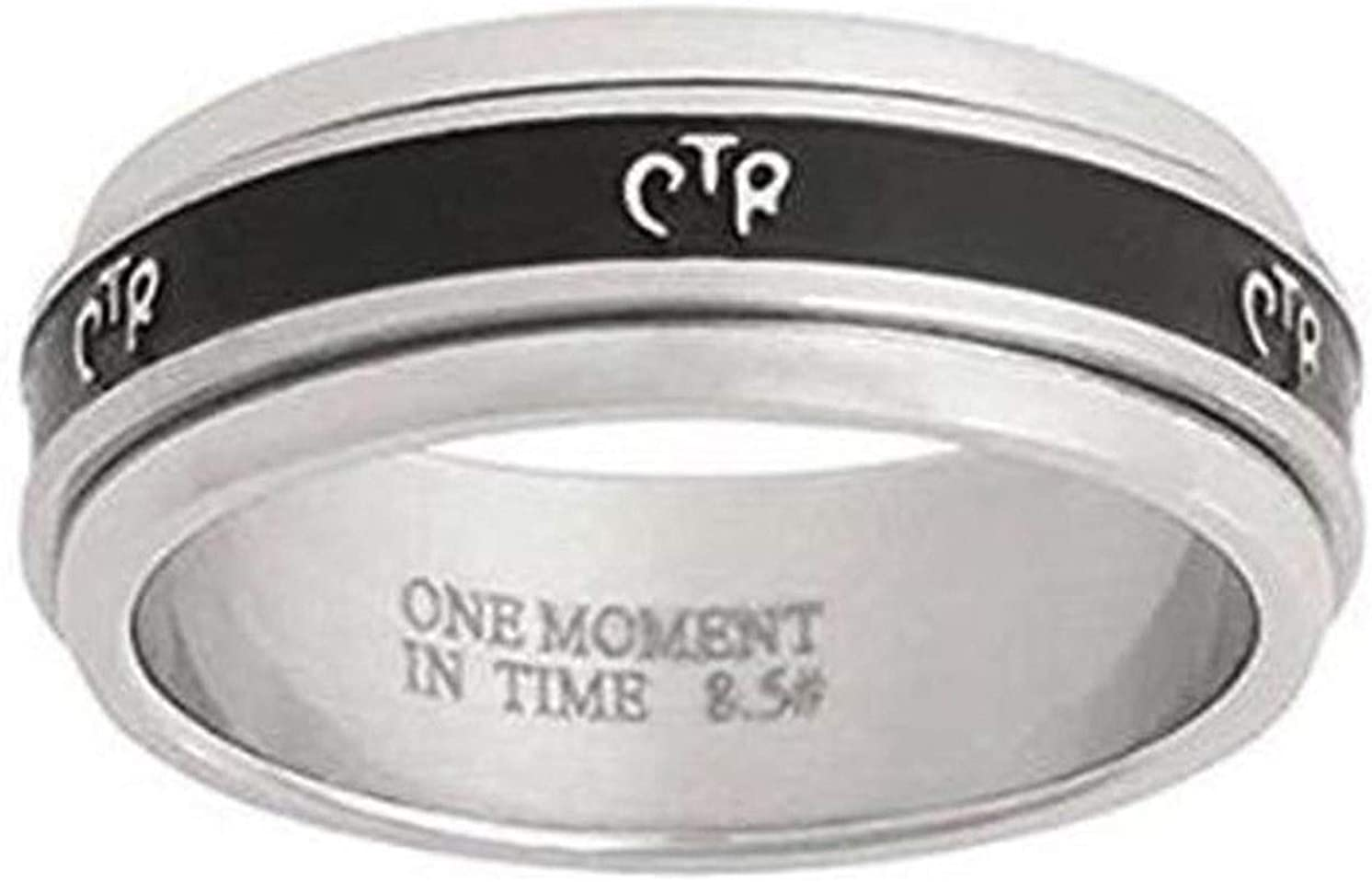 One Moment In Time J37 Size 5-10 Wide Antique Black Stainless Steel Spinner Handmade Ring Mormon CTR LDS