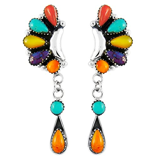 925 Sterling Silver with Genuine Gemstone /& Turquoise Earrings