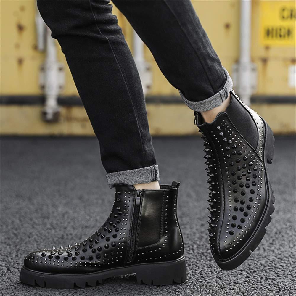 Ruiyue Mode-Ankle Stiefel, Stiefel, Stiefel, beiläufige Persönlichkeitsniet-nähende Reißverschluss-hohe Spitzenaufladung für Männer (Farbe   Schwarz, Größe   39 EU) 75510f