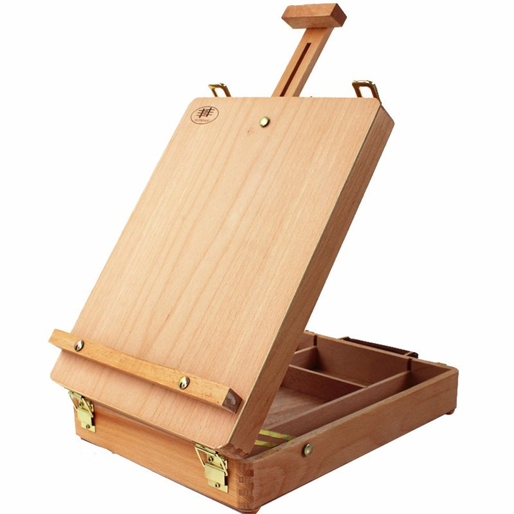 Amazon.com: Art Supplies Box Easel Sketchbox Painting Storage Box, Adjust Wood Tabletop Easel for Drawing & Sketching Student (HBX-3)