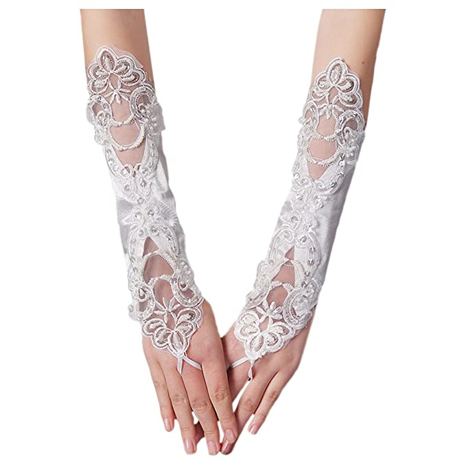 Elfenbein-Satin-Abschlussball-Abend-Fingerless Brauthandschuhe