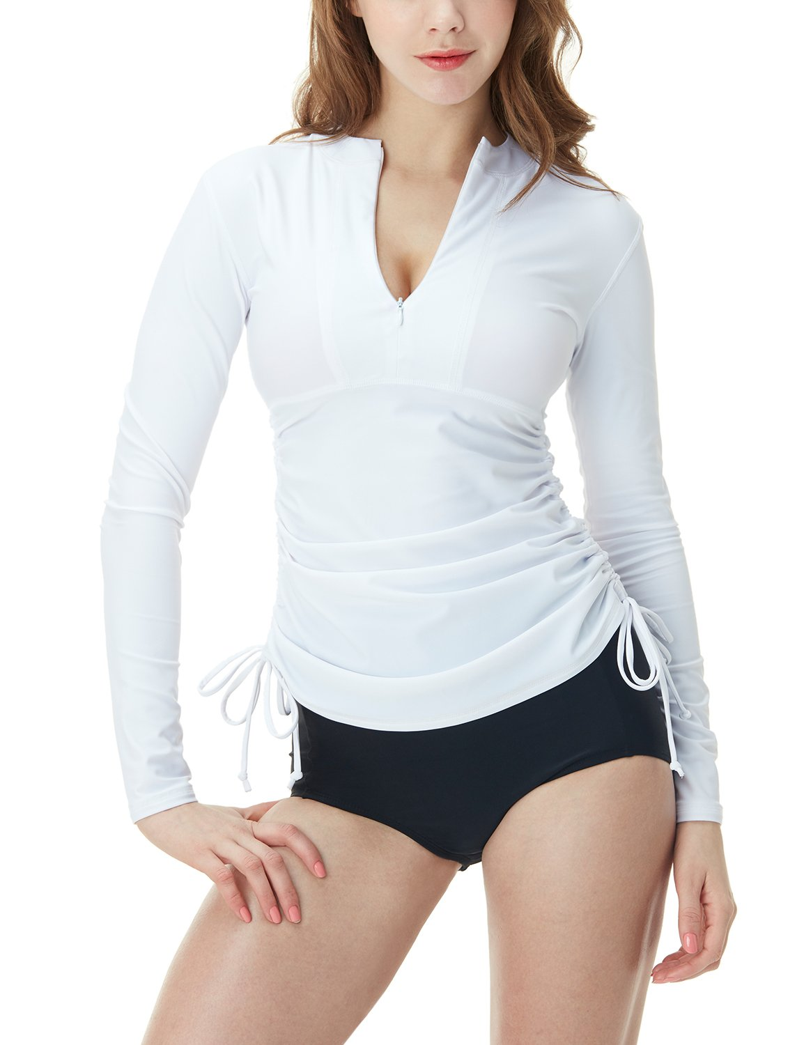 TSLA Women's UPF 50+ Full & Half Zip Front Long Sleeve Top Rashguard Swimsuit, Half Zip(fsz04) - White, X-Large by TSLA