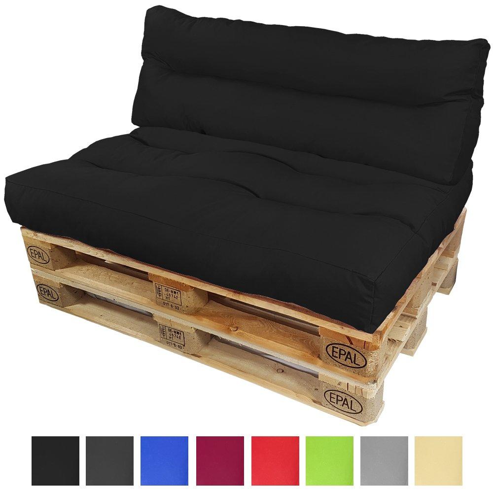 PROHEIM Palettenkissen-Set Lounge  Sitzkissen + langes Rückenkissen Sitzpolster für Europaletten Paletten-Sofa Wasser- und Schmutzabweisend Palettenauflage mit Wave-Steppung, Farbe Schwarz